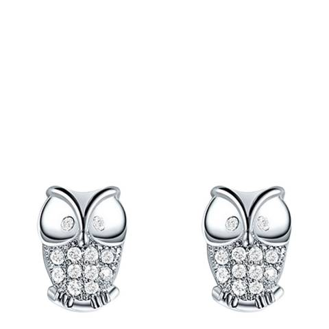 Ma Petite Amie Platinum Plated Eight Heart Owl Earrings