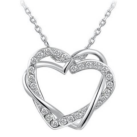 Ma Petite Amie Platinum Plated Double Heart Necklace