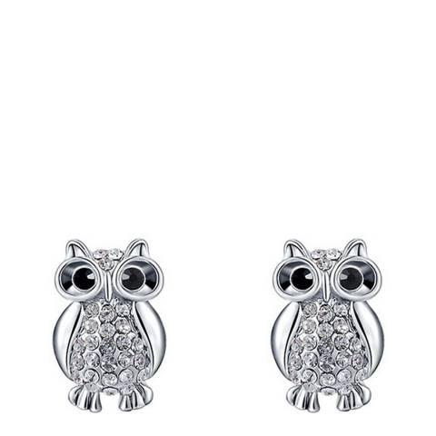 Ma Petite Amie Platinum Plated Owl Stud Earrings