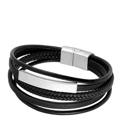 Stephen Oliver Silver Plated Black Leather Bracelet