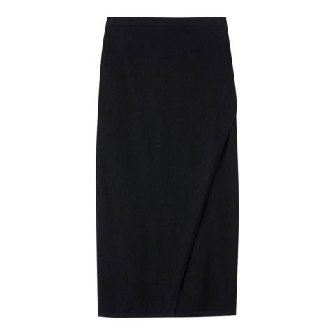 Pure Collection Black Knitted Wrap Pencil Skirt