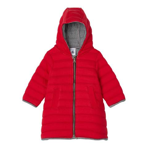 Petit Bateau Girls Red Quilted Tube Knit Coat