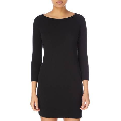 James Perse Black Raglan Cotton Sweatshirt Dress