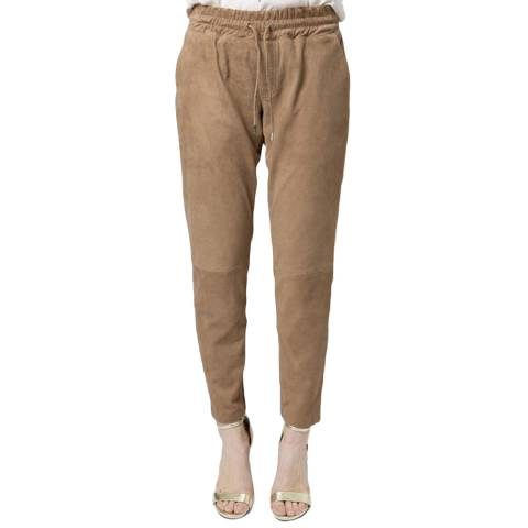 Muubaa Ash Brown Amelia Suede Leather Trousers
