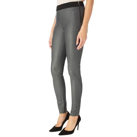 Muubaa Charcoal Skinny Stretch Leather Leggings