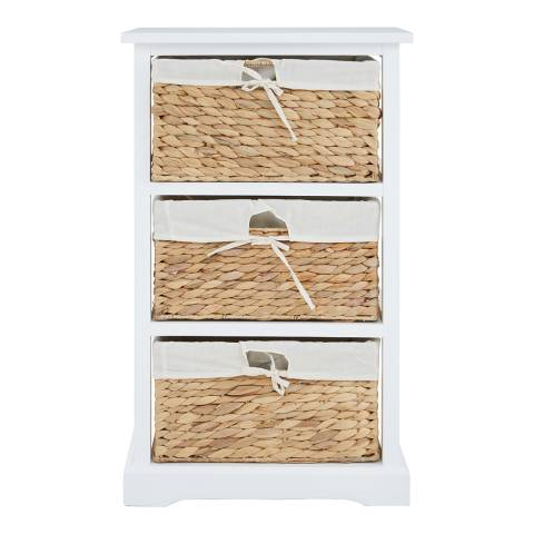 Premier Housewares Ashby 3 Drawer Chest, White Frame, Water Hyacinth Baskets