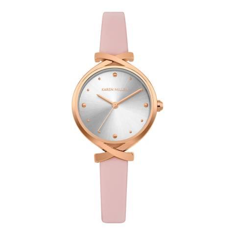 Karen Millen Pink Gold Twist Leather Strap Watch