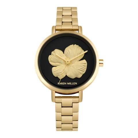 Karen Millen Black Gold Flower Face Watch