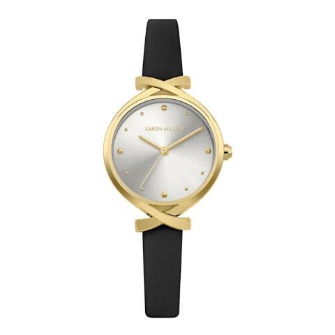 Karen Millen Black Gold Twist Leather Strap Watch