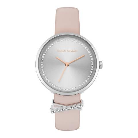 Karen Millen Pink and Silver Leather Strap Watch