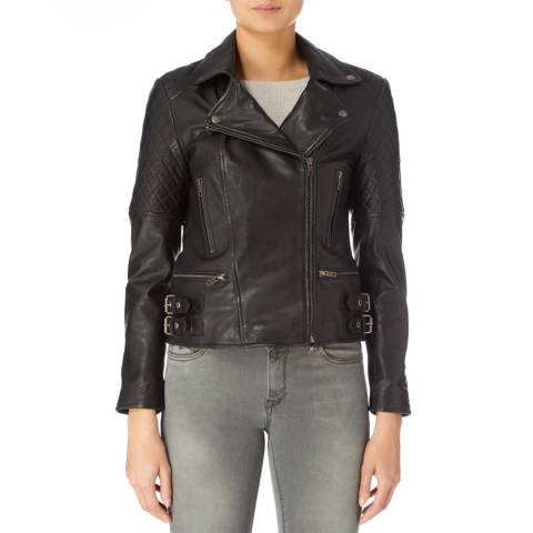 Muubaa Black Buckle Leather Biker Jacket