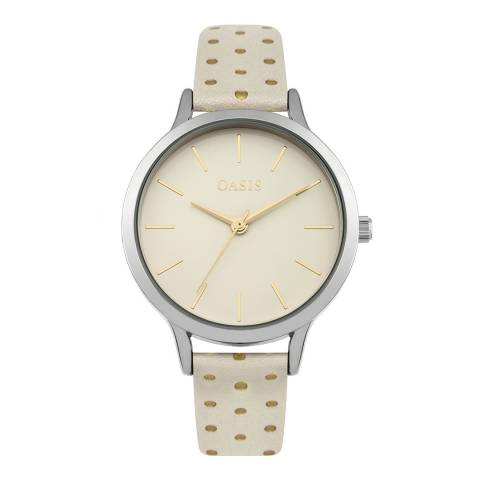 Oasis Cream Polka Dot Leather Strap Watch