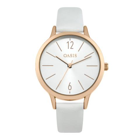 Oasis White Leather Strap Watch
