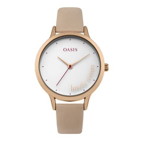 Oasis Cream Leather Strap Watch