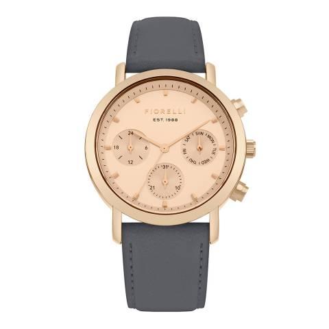 Fiorelli Slate Grey Leather Strap Watch