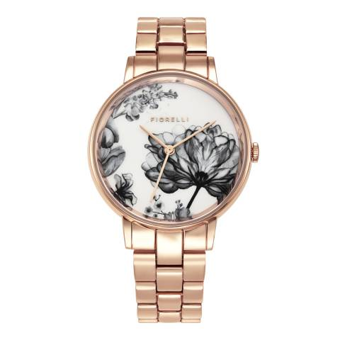 Fiorelli Rose Gold Floral Face Watch
