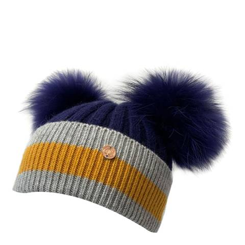 Look Like Cool Navy/Grey Stripes with Navy Pom Poms