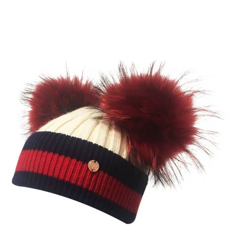 Look Like Cool Kids Cream/Navy Stripes Pom Poms Beanie Hat