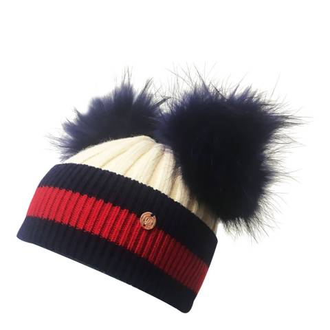Look Like Cool Cream/Navy Stripes with Navy Pom Poms