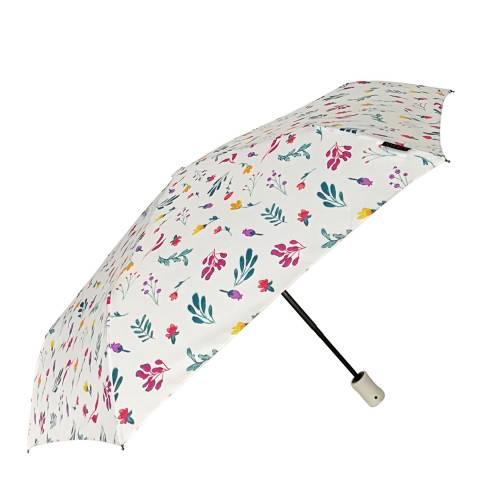 Smati White / Multi Coloured Flower Folding Umbrella