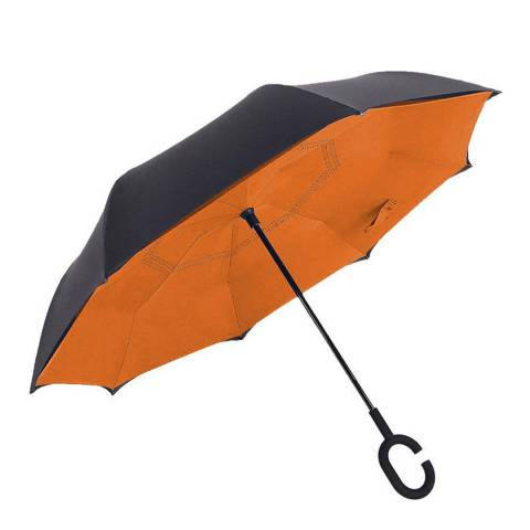 Le Monde du Parapluie Black / Orange Reversible Umbrella