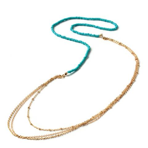 Amrita Singh Gold and Turquoise Bead Necklace