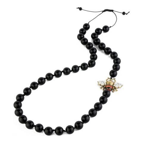 Amrita Singh Black Bead Bee Necklace