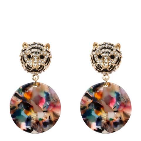 Amrita Singh Multi Resin Disc Earrings with Tiger Head