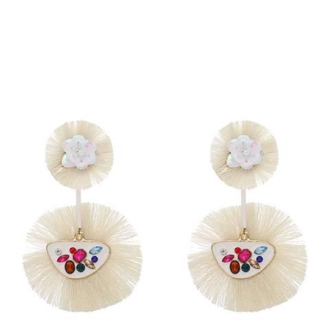 Amrita Singh Ivory Fringe and Sequin Earrings
