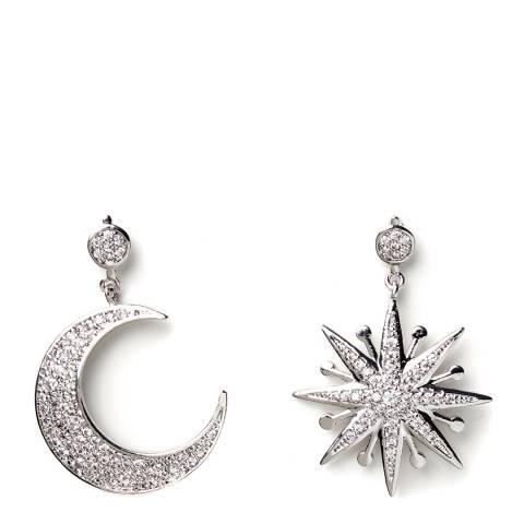 Amrita Singh Silver Moon and Star Drop Earrings