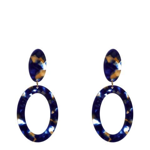 Amrita Singh Blue Resin Drop Hoop Earrings