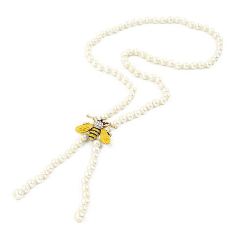 Amrita Singh White Pearl Bee Brooch Necklace