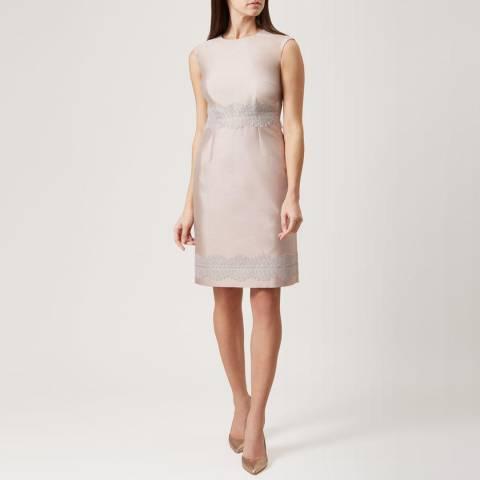 Hobbs London Beige Lace Fran Silk Blend Dress