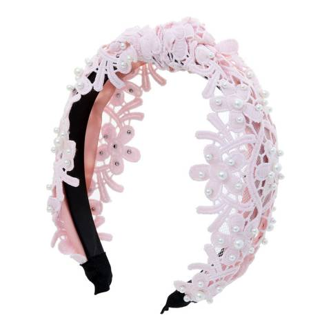Amrita Singh Pink Lace Headband
