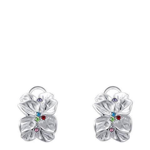Ma Petite Amie Silver Classic Flower Petal Clip Earrings with Swarovski Crystals