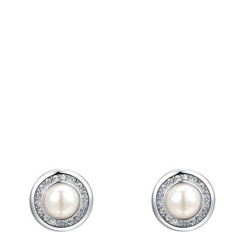 Ma Petite Amie Silver Pearl Earrings with Swarovski Crystals