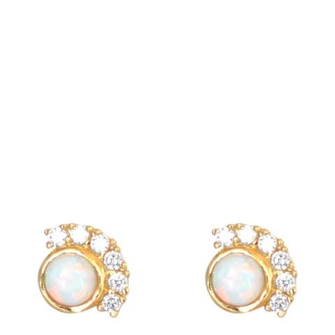 Ma Petite Amie Gold Plated Opal Earrings with Swarovski Crystals
