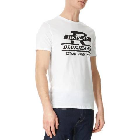 Replay White Graphic Jeans Logo T-Shirt