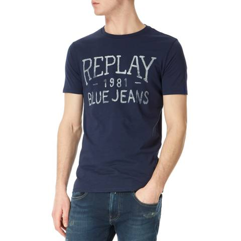 Replay Navy Vintage Jeans Logo T-Shirt