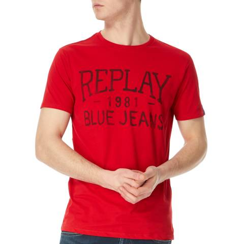 Replay Red Vintage Jeans Logo T-Shirt