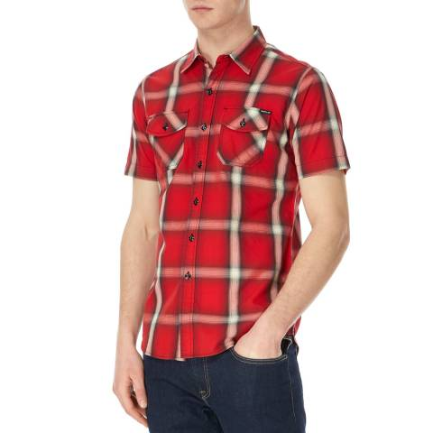 Replay Red Multi Check Short Sleeve Shirt