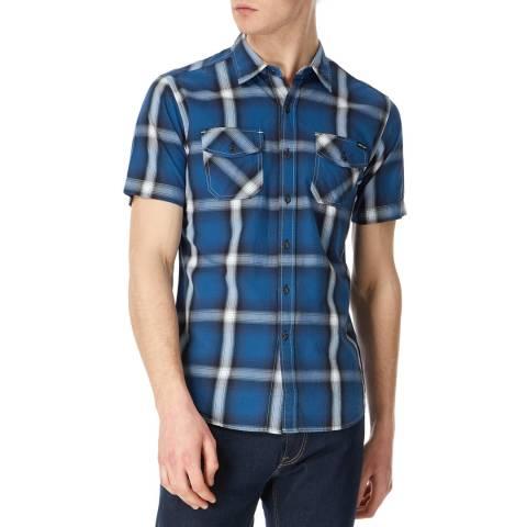Replay Blue Multi Check Short Sleeve Shirt