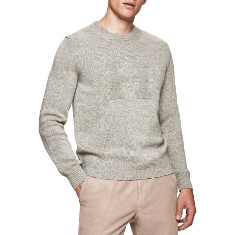 Hackett London Grey H Intarsia Crew Neck Wool/Cotton Jumper
