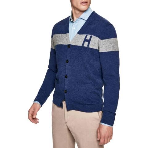 Hackett London Blue Mono Stripe Cotton/Silk Cardigan
