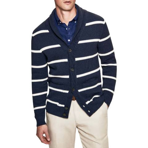 Hackett London Navy/Cream Stripe Cotton/Silk Cardigan