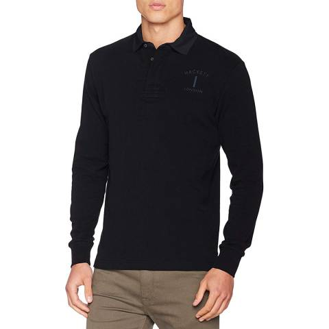 Hackett London Navy Mr Classic Cotton Rugby Shirt