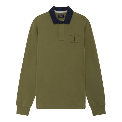 Hackett London Green Mr Classic Cotton Rugby Shirt
