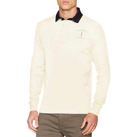 Hackett London Cream Mr Classic Cotton Rugby Shirt