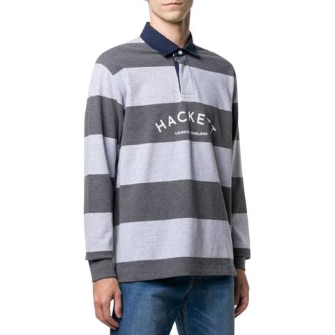Hackett London Grey Mr Classic Stripe Rugby Shirt