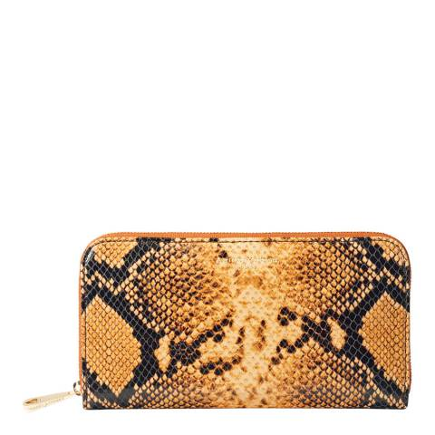Aspinal of London Mustard Snake Continental Clutch Wallet